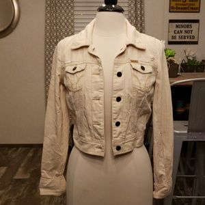 New Hollister cropped destroyed jean jacket M